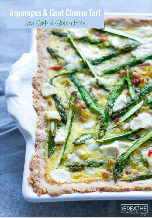 This keto friendly asparagus tart is loaded with salty pancetta, tangy goat cheese, and sweet, buttery leeks!