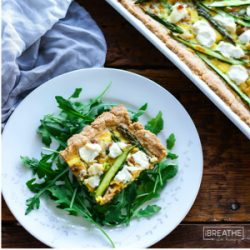 A delicious low carb and gluten free asparagus and goat cheese tart from Mellissa Sevigny of I Breathe Im Hungry