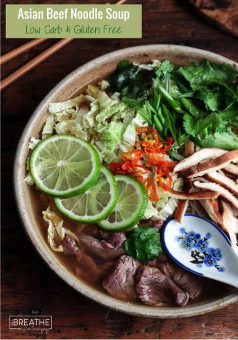 This healthy and delicious Asian Beef Noodle Soup is low carb and gluten free!