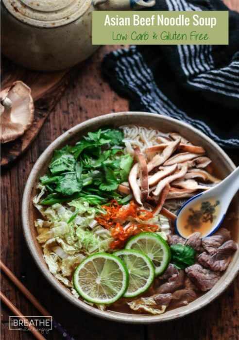 This Keto friendly Asian Beef Noodle Soup is loaded with healthy veggies and lean protein!