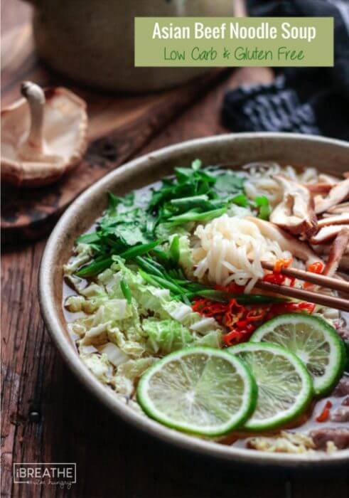 Gluten free and loaded with flavor this Asian Beef Noodle Soup is low carb and super healthy!