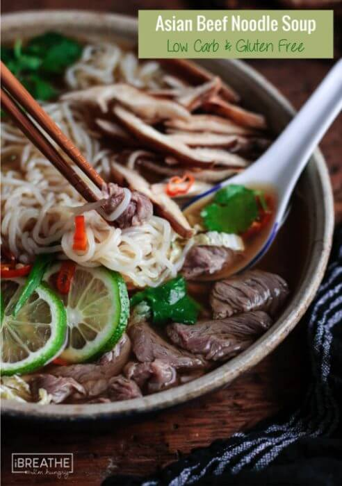This keto friendly Asian Beef Noodle Soup is loaded with healthy veggies and zero carb noodles!