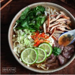 A delicious low carb Asian Beef Noodle Soup recipe from Mellissa Sevigny of I Breathe Im Hungry