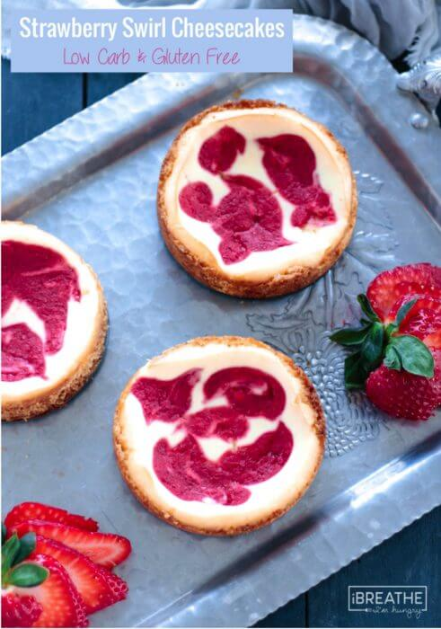 These luscious cheesecakes boast a sweet strawberry swirl and are keto and Atkins Induction friendly!