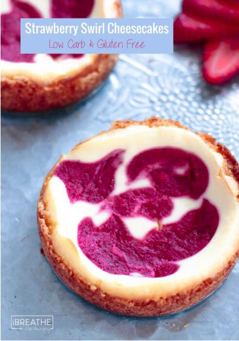 Beautiful AND delicious, these strawberry swirl cheesecakes are gluten free and Keto friendly!