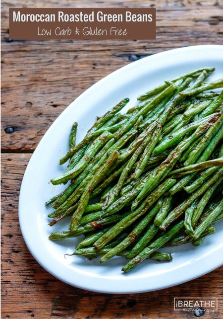 These Moroccan Spiced Roasted Green Beans are truly addicting!!! Keto, Atkins, Paleo and Whole 30 approved!