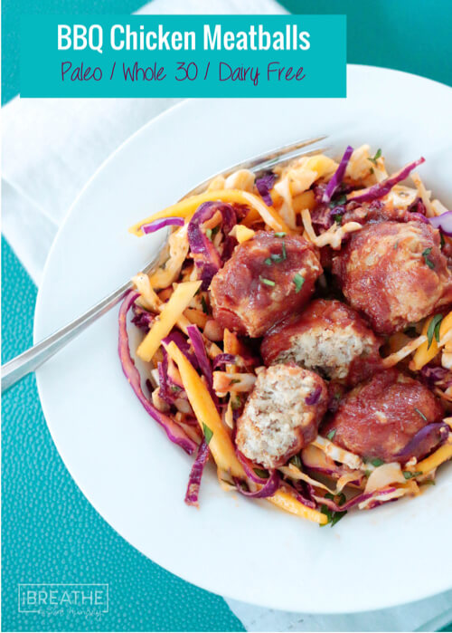 These Paleo BBQ Chicken Meatballs are delicious and guaranteed to be a hit with the whole family! Whole 30 and Low Carb!