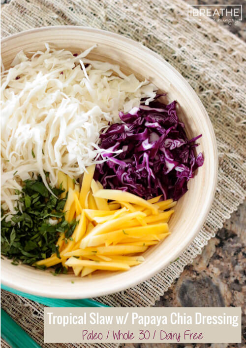 Loaded with vibrant colors and textures, this tropical slaw is healthy and delicious! Whole 30 and low calorie too!