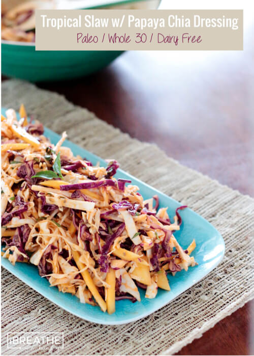 This Whole 30 approved tropical slaw is not only healthy but delicious and easy as well!! The perfect summer side dish!