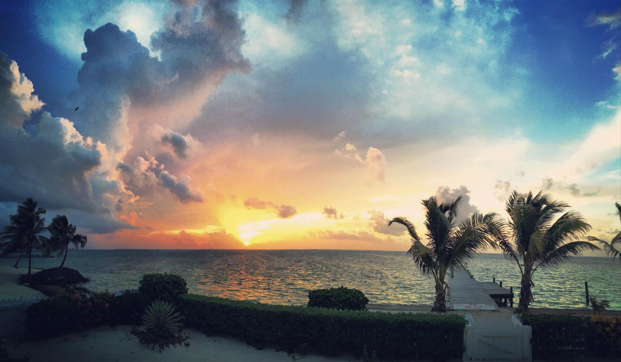 Belize sunrise on Ambergris Caye