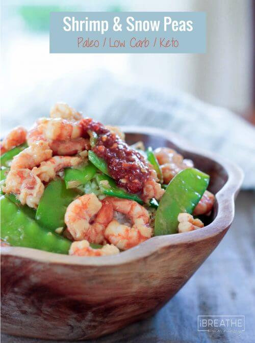 Better and faster than takeout, you can throw this delicious low carb shrimp and snow peas recipe together in just minutes! Keto, Gluten Free, Paleo