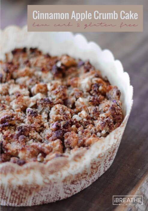 This Cinnamon Apple Crumb Cake (or coffee cake) is quintessentially Fall and will go perfectly with your morning coffee or a scoop of vanilla ice cream! Low Carb and gluten free