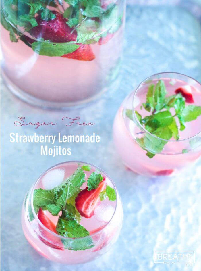 These delicious and refreshing sugar free strawberry lemonade mojitos have been my go to keto cocktail all summer!