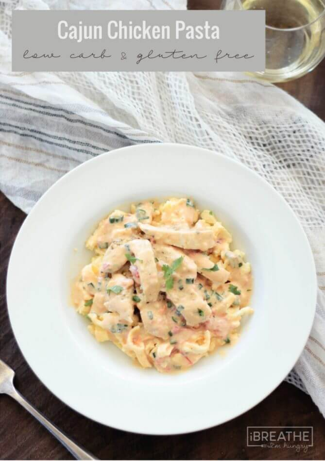 Cajun Chicken Pasta with tender chicken and low carb fettuccine noodles smothered in a spicy cajun cream sauce. Keto and Gluten Free!