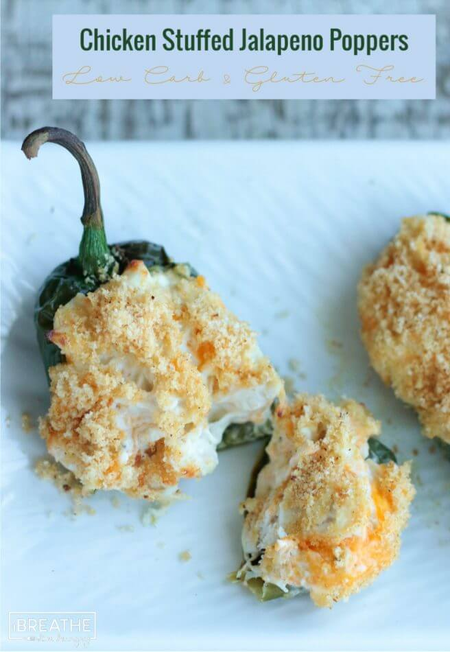 Cheesy Chicken Stuffed Jalapeno Poppers - low carb and gluten free!