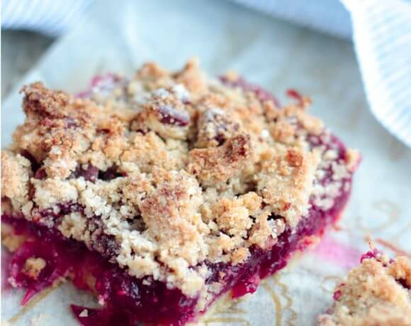 Low Carb Cranberry Shortbread Streusel Bars