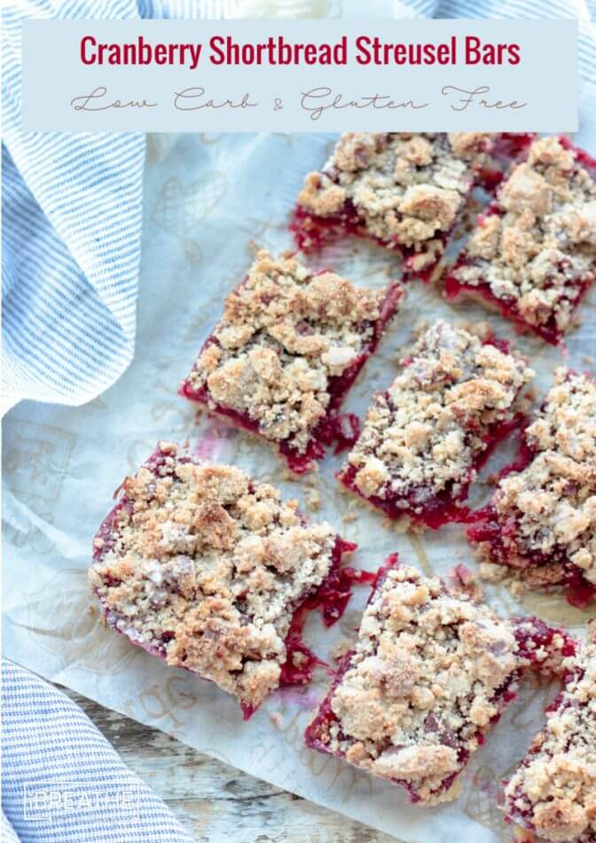 These low carb cranberry shortbread streusel bars are easy to make and even easier to eat! Keto, Atkins and gluten free too!