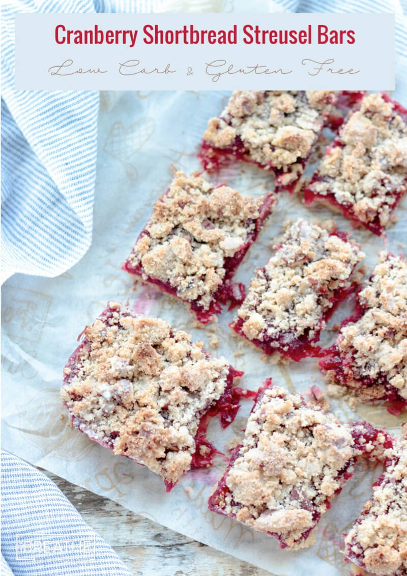 Top view of low carb cranberry bars cut into rectangles