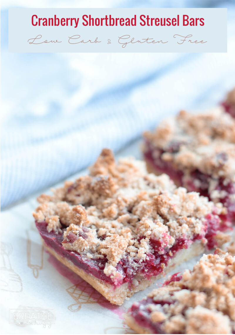 Cross section of keto cranberry bars with streusel topping