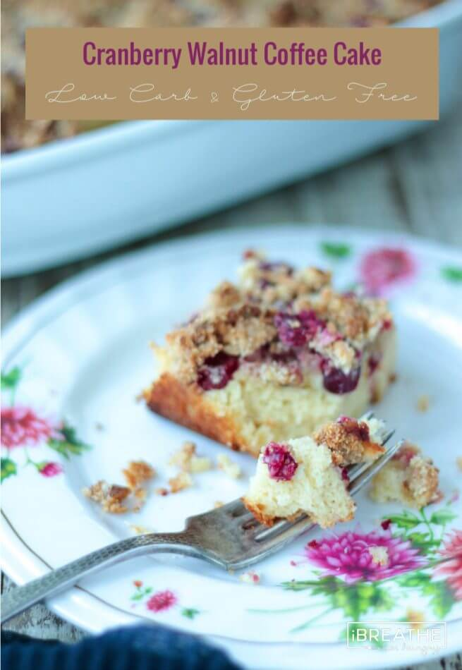 Subtly orange flavored cake with a burst of tart cranberries and a toasty walnut streusel topping! Keto, Atkins, Low Carb, Gluten Free