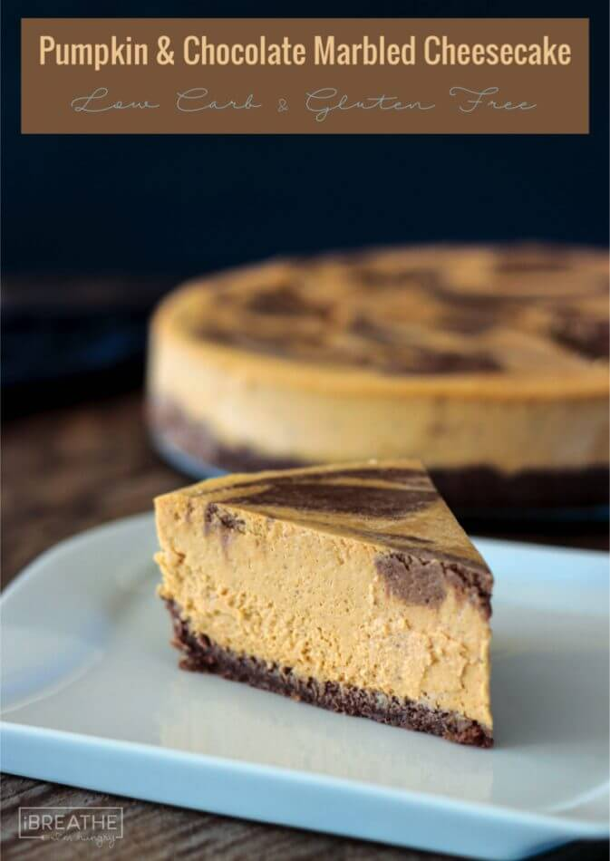 Rich and creamy, nobody will believe this pumpkin chocolate marbled cheesecake is low carb and gluten free!