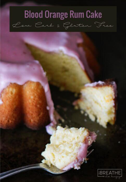 This tender and fluffy glazed blood orange rum cake is made in your blender! Keto, atkins, low carb