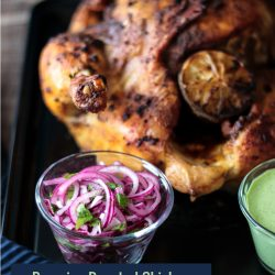 This Whole 30 friendly Peruvian Roasted Chicken with Green Sauce is easy & delicious!