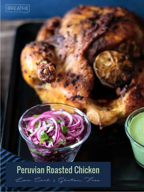 This Whole 30 friendly Peruvian Roasted Chicken & Green Sauce is easy & delicious!
