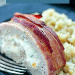 A delicious pork meatloaf stuffed with jalapeño popper filling then wrapped in bacon!