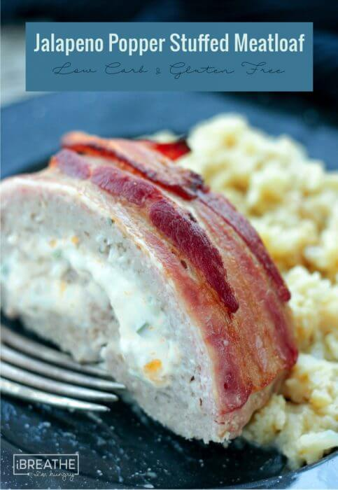 Bacon Wrapped Jalapeño Popper Stuffed Meatloaf - cheesy & delicious, it's also gluten free, keto, Atkins and Low Carb friendly!