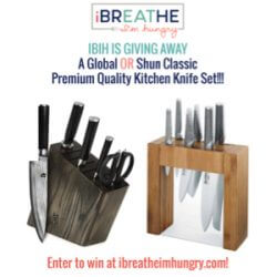 A Global or Shun Classic premium kitchen knife giveaway from Mellissa Sevigny of I Breathe Im Hungry