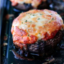 A keto lasagna stuffed mushroom recipe from Mellissa Sevigny of I Breathe Im Hungry