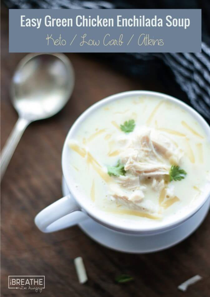 An easy keto green chicken enchilada soup the whole family will love!