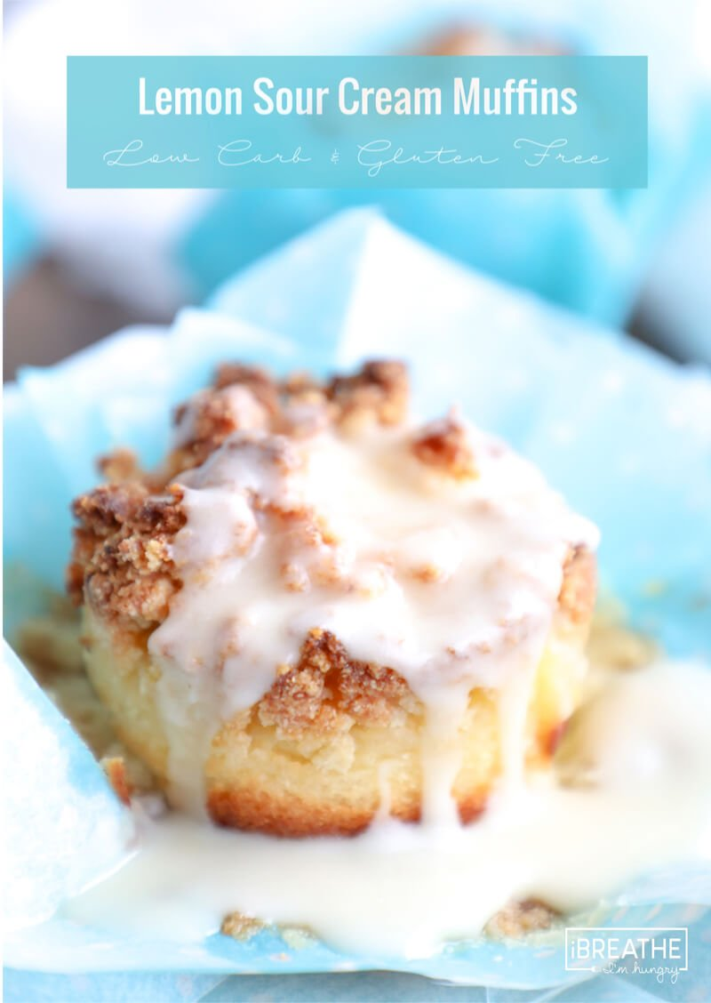 Keto Muffins dripping with sweet  Lemon Glaze