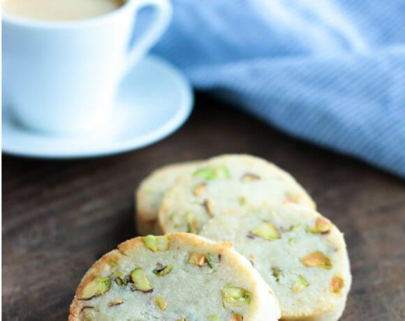 Easy Keto Pistachio Shortbread Cookies - coffee's new BFF!