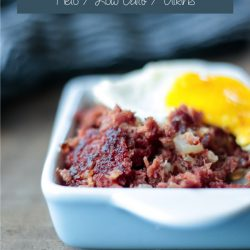 Easy Keto Crispy Corned Beef & Radish Hash with fried eggs - keto breakfast perfection!
