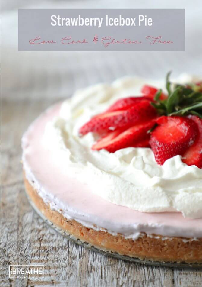 Keto Strawberry Icebox Pie is creamy and luscious - also low carb and gluten free!