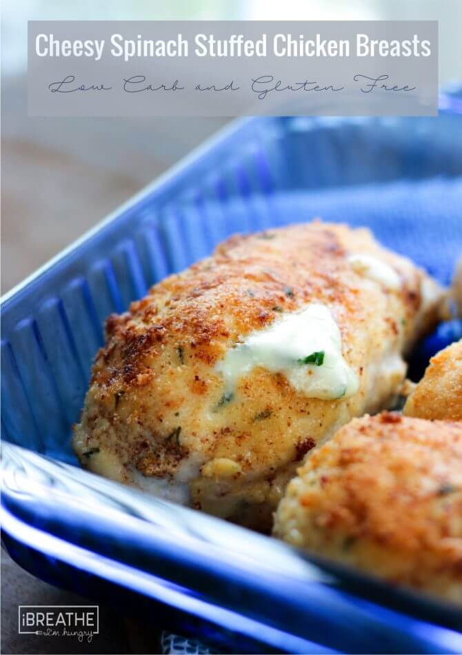 Tender chicken, melty cheese, what's not to love about these healthy cheesy spinach stuffed chicken breasts?!?!