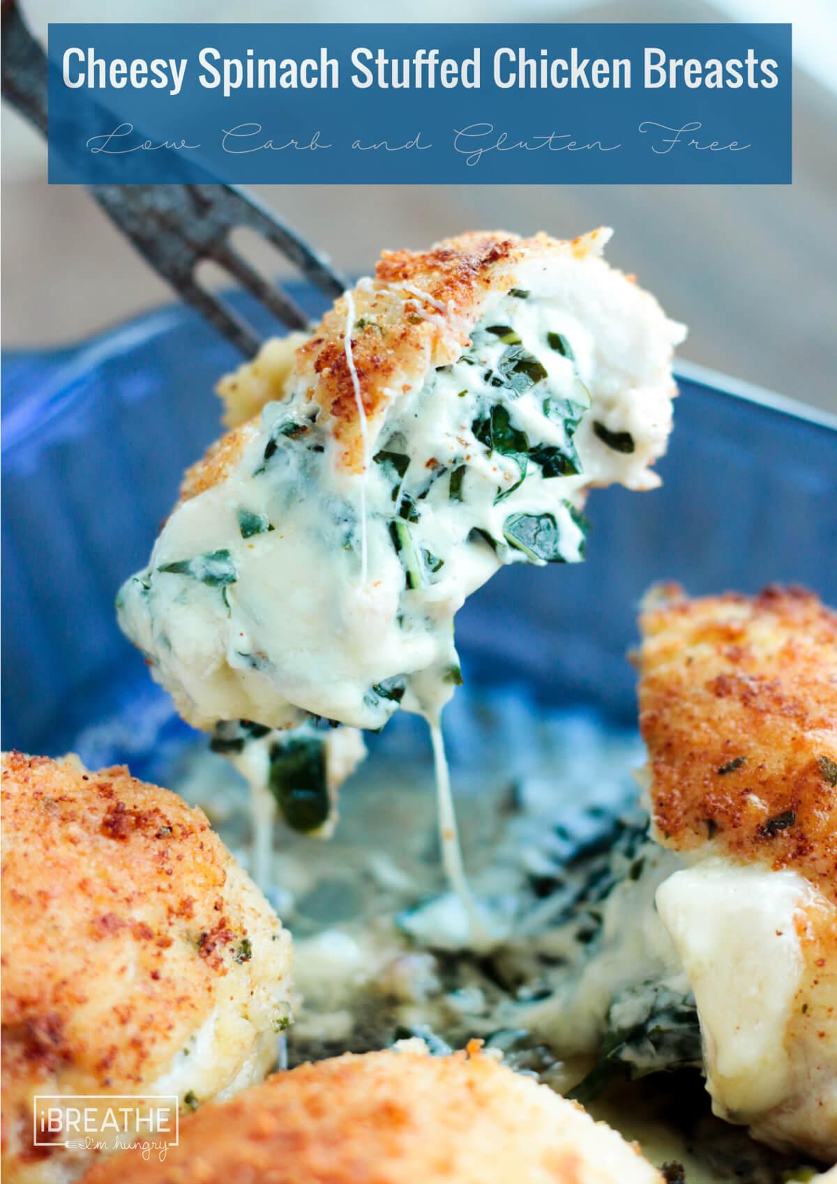 Keto Cheesy Spinach Stuffed Chicken Breasts