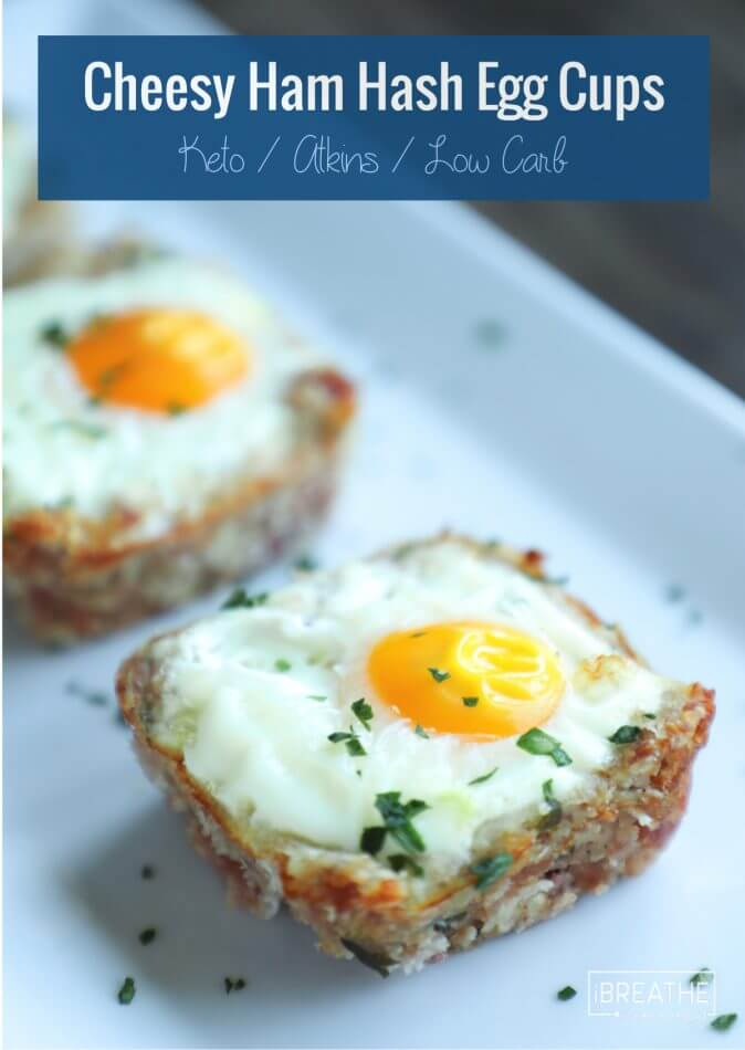 Low Carb Cheesy Ham Hash Egg Cups - easy and delicious!