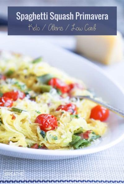 This delicious keto spaghetti squash primavera is a lightened up version of the classic