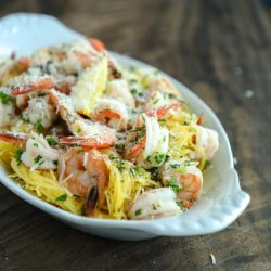 An easy keto shrimp scampi recipe from Mellissa Sevigny of I Breathe Im Hungry
