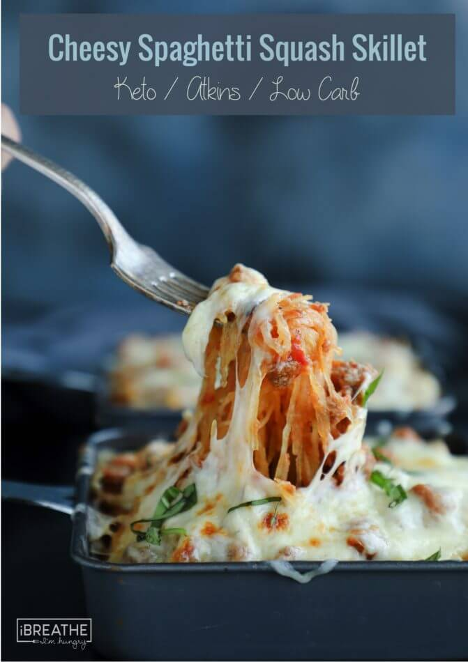 This cheesy spaghetti squash skillet is so delicious & easy!