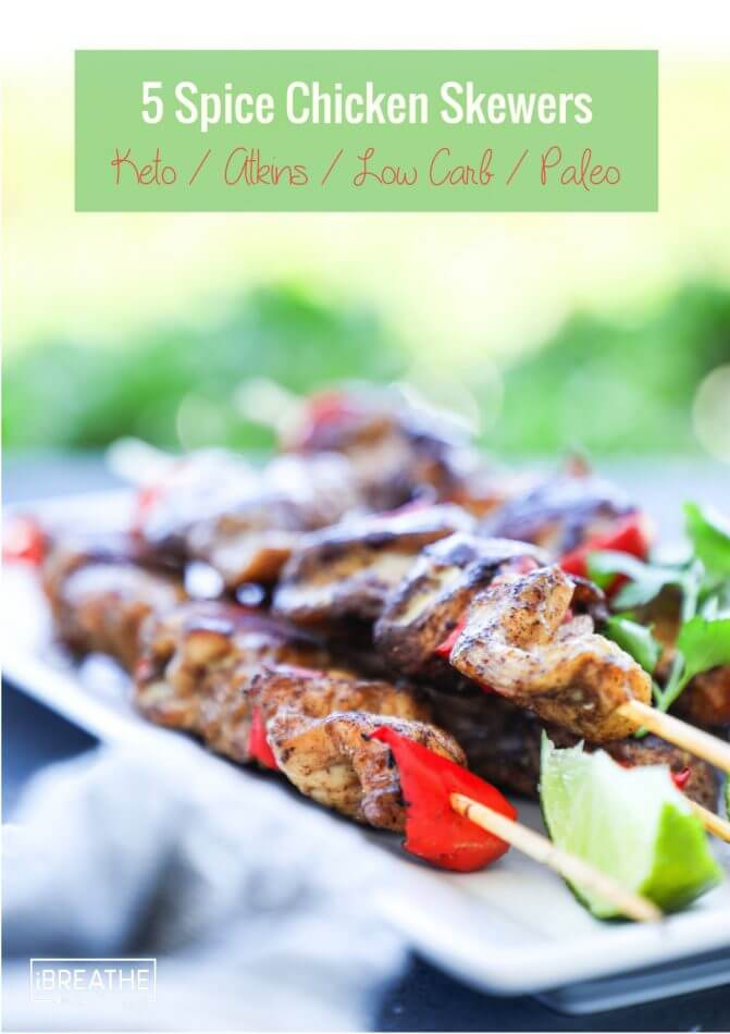 Easy and delicious grilled 5 spice chicken skewers! Low Carb & Paleo