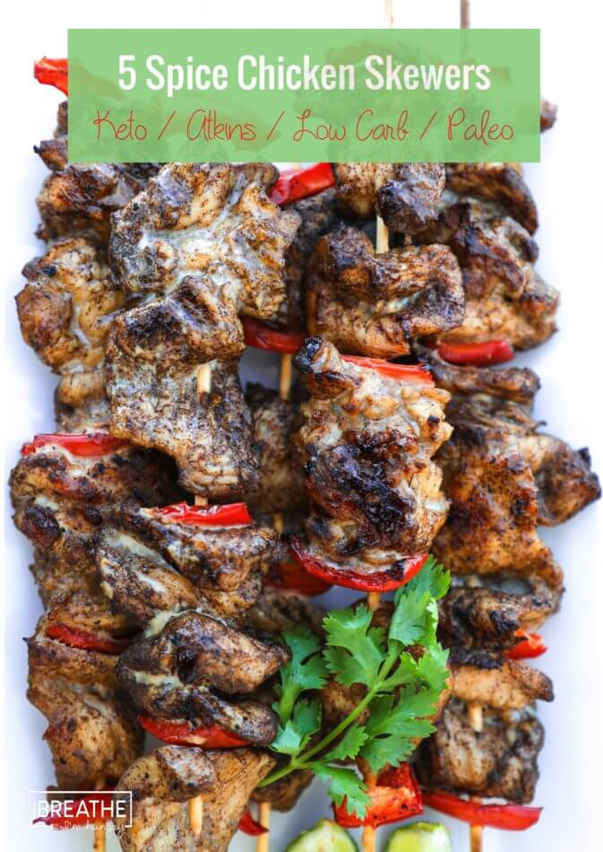 Easy grilled keto 5 spice chicken skewers! Low Carb & Paleo