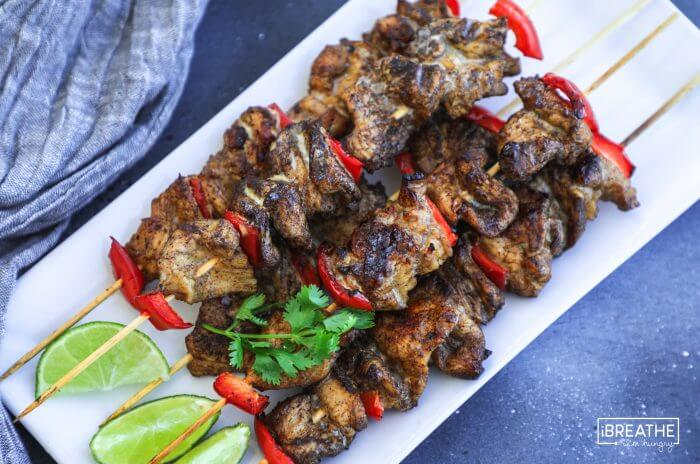 Easy and delicious grilled keto 5 spice chicken skewers!
