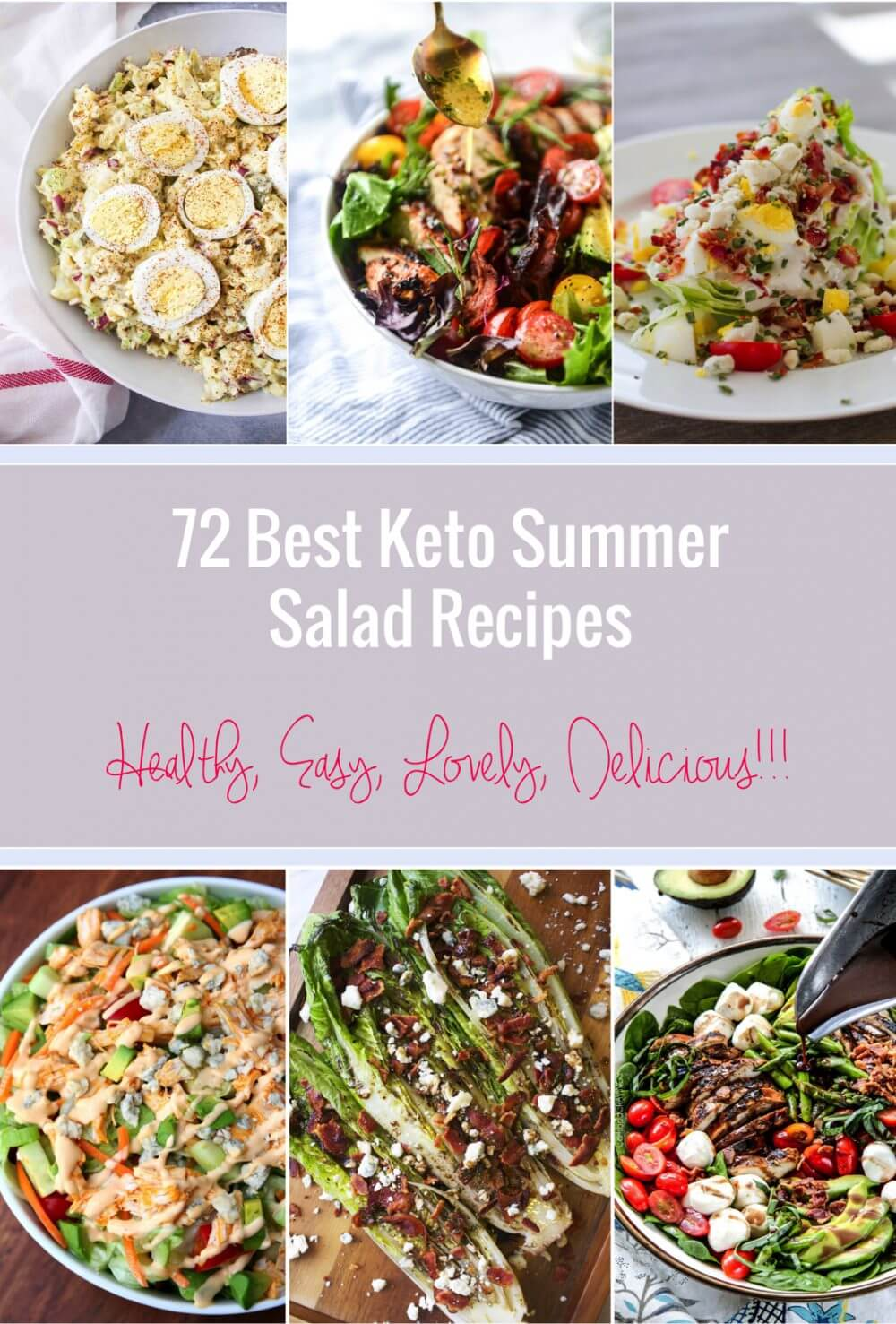 Here are the 72 Best Keto Summer Salad Recipes for all your low carb picnic and BBQ needs!