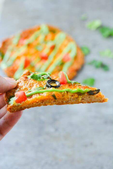 This easy keto chicken crust taco pizza has only 2g net carbs!!! Low carb & gluten free!