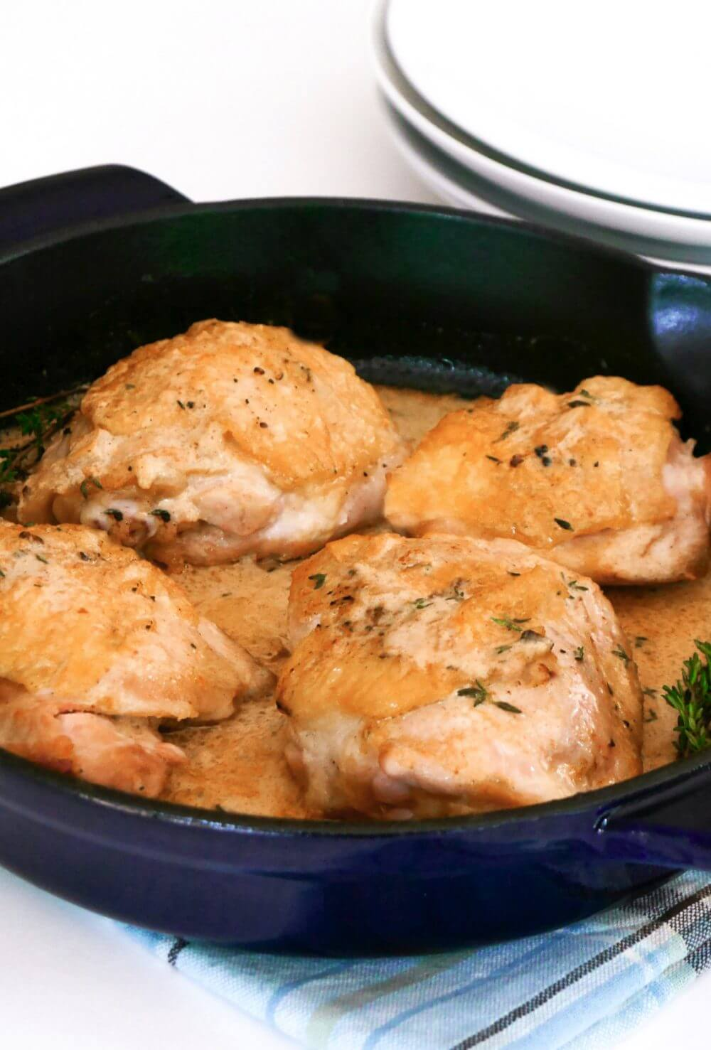 Perfect for busy weeknights, these keto dijon chicken thighs are made in one pan!