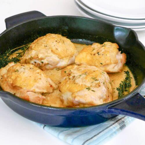 Perfect for busy weeknights, these easy keto dijon chicken thighs are made in one pan!